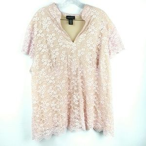 Lane Bryant Pink Nude Floral Lace Top